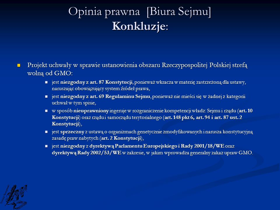 Opinia prawna [Biura Sejmu] Konkluzje: